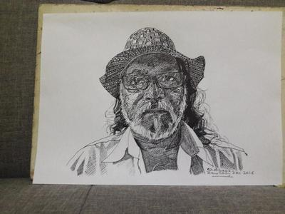 AGED MAN IN CROSS HATCHING TECHNIQUE