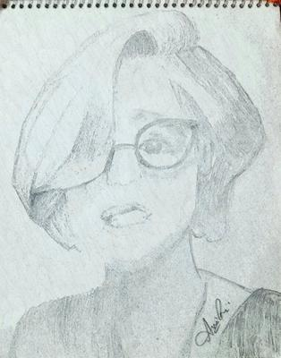 sketch girl with specs