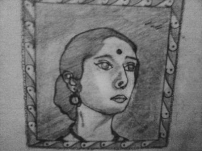 Beautiful Indian woman sketch