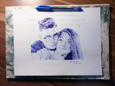 Blue ballpoint pen - couple
