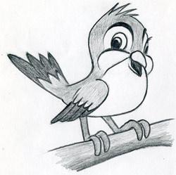 Learn To Draw Cartoon Bird - very simple, in few easy steps.