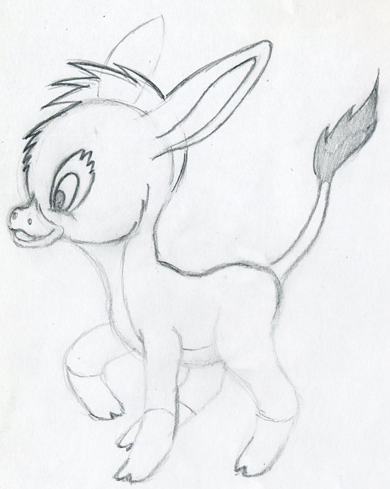 Lets draw cartoon donkey cute and lovely few easy steps