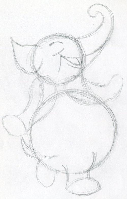 Walking Cartoon Elephant Very Cute Easy To Draw