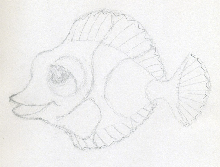 Original Cartoon Fish Drawing