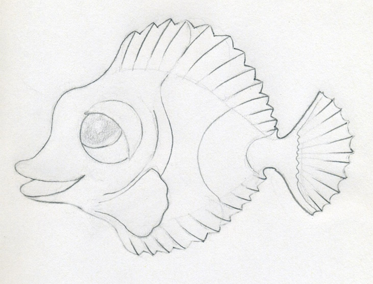 Fishes Pencil Drawing Mark Out The Fins so They Look