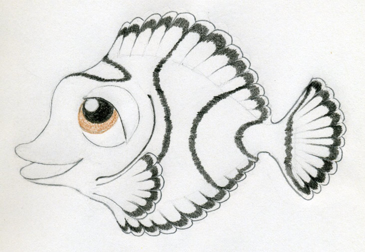 Tropical Fish Pencil Drawing
