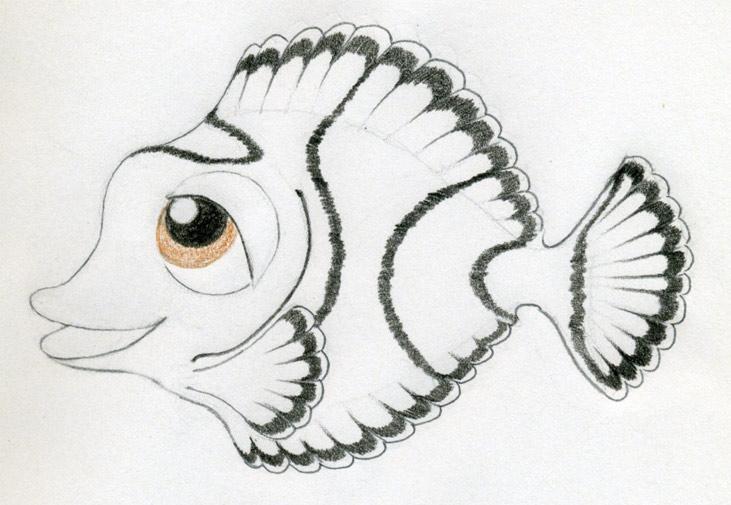 Original Cartoon Fish Drawing