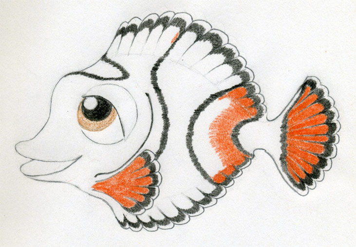 Cartoon Fishes Kissing. how to draw a realistic fish