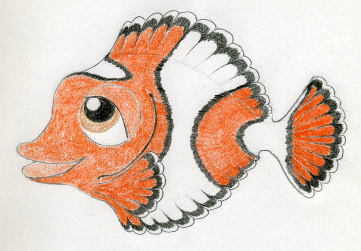 Drawing of a fish with color the image for Cartoon fish drawing