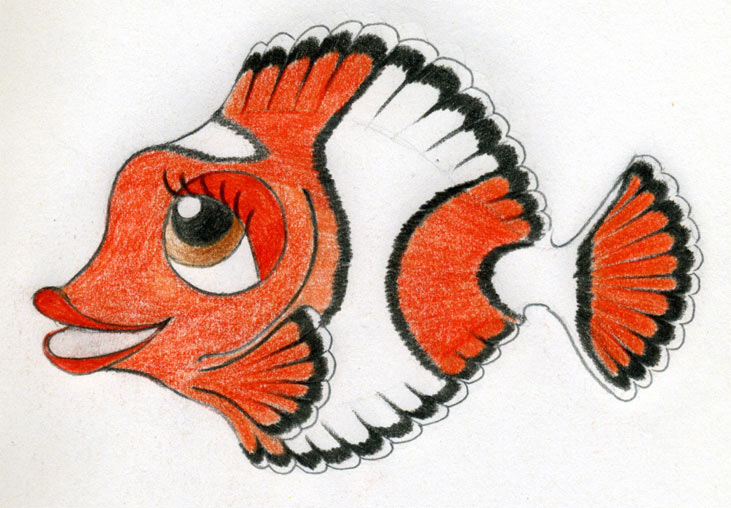 cartoon fish. Original Cartoon Fish Drawing