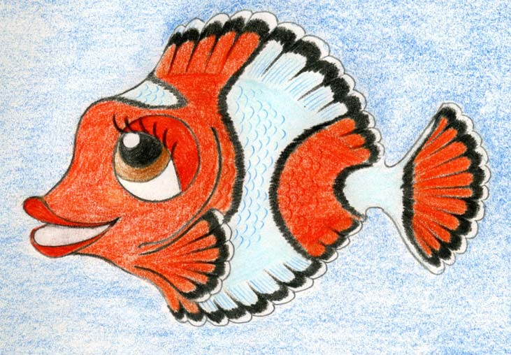 Paint The Eyelid Stronger And Mark Out Lips This Is A Girl Fish Another Distinctive Feature For Cartoon Girls Eyelashes So Draw Couple Of Longer