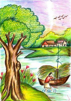 Colourful scenery for Fish scenery drawing