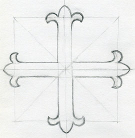 how to draw a pretty cross