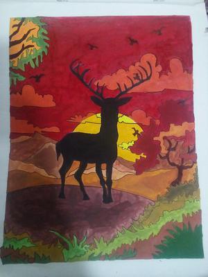 Deer at sunset1