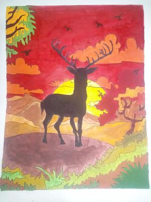 Deer at sunset2