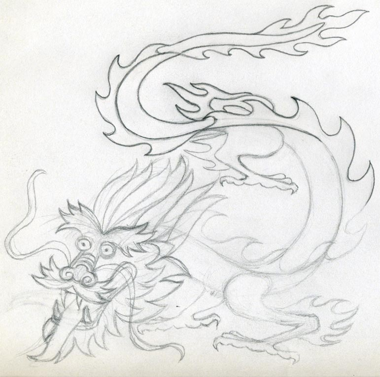 Dragon Drawing Easy Chinese Dragon Sketch