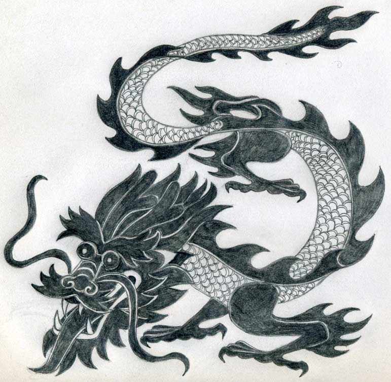 Chinese Fire Dragon Drawings to Draw The Borderlines