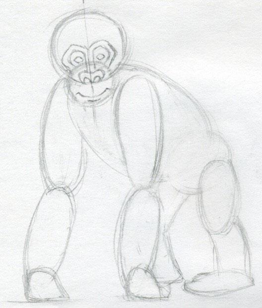 how to draw a monkey body