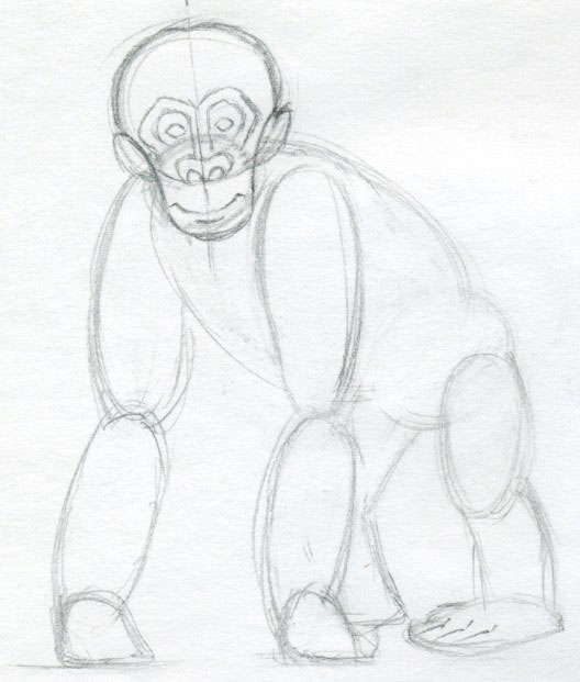 how to draw a monkey face easy