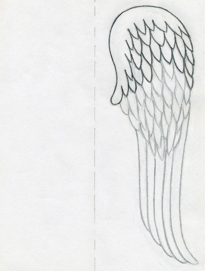 how to draw small easy wings