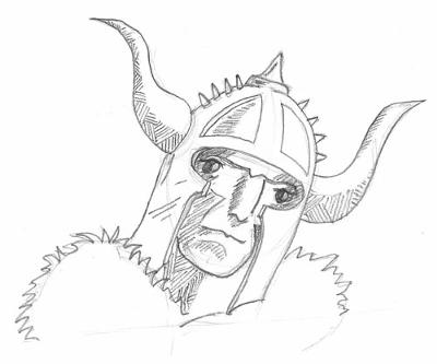 Drawing Of A Warriors Head
