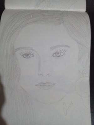 Pencil sketch of aalia bhatt