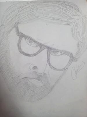 Amitabh bhachan pencil sketch