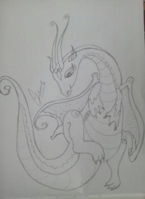 Pencil sketch of dragon