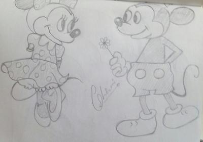 Pencil sketch of cartoon character mickey mouse