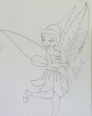 Pencil sketch of Barbie butterfly