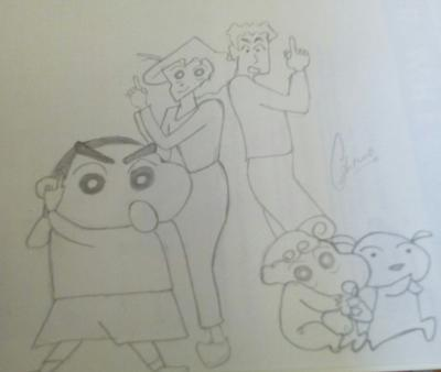 Pencil sketch of shinchan & family