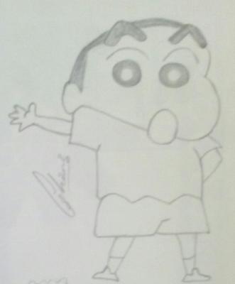 pencil sketch of shinchan