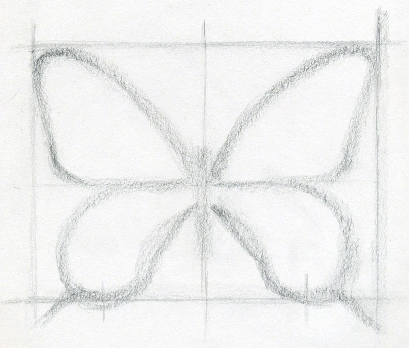 Drawing With Lines Only : How to draw a butterfly surprisingly easy