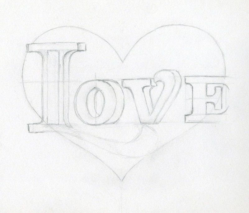 Pencil Sketches Of The Word Love