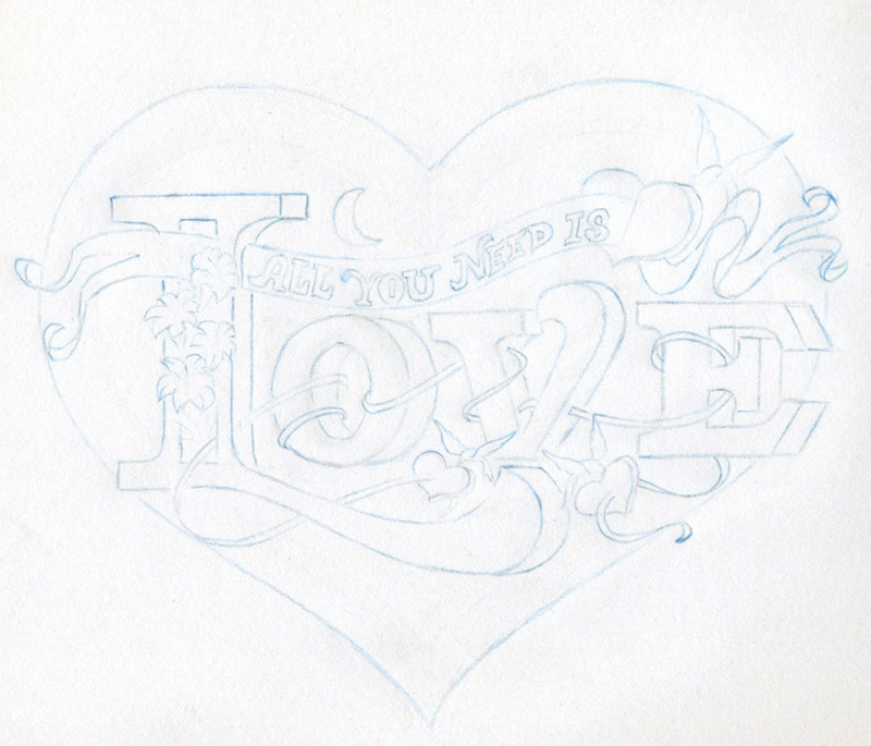 cool love heart drawings. Your drawing with blue pencil