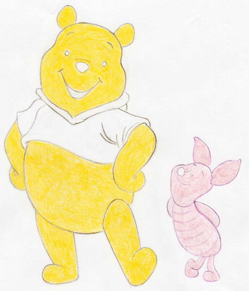 Draw Winnie The Pooh And Piglet Step By Step Tutorial