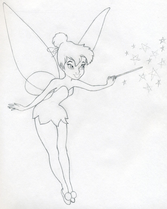 It is a graphic of Playful Easy Fairy Drawing