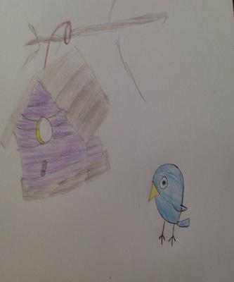 Blue bird with his birdhouse