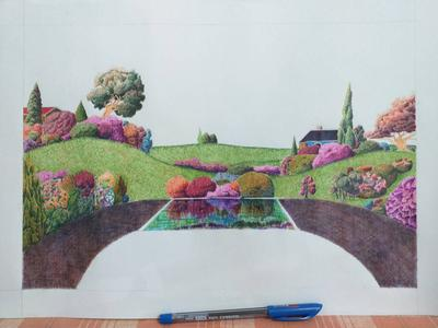 Imaginary art, ballpoint pens, still in progress