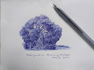 Imaginary art with blue ballpen