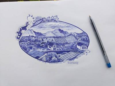 IMAGINARY ART WITH BLUE BALLPOINT PEN1