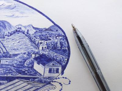 IMAGINARY ART WITH BLUE BALLPOINT PEN3