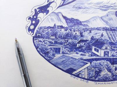 IMAGINARY ART WITH BLUE BALLPOINT PEN4