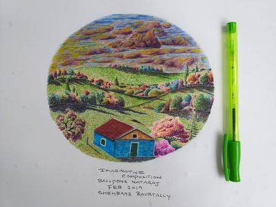 Imaginary art with colored ballpens