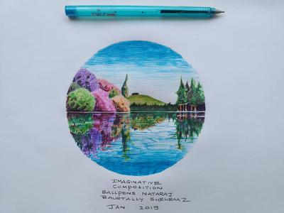 IMAGINARY ART WITH COLORED BALLPENS NATARAJ1