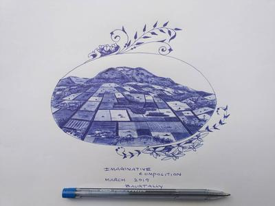 Imaginative aerial view with blue ballpen.