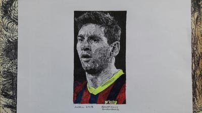 LIONEL MESSI IN CROSS HATCHING TECHNIQUE