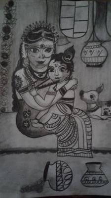 little krishna enjoying with his mother