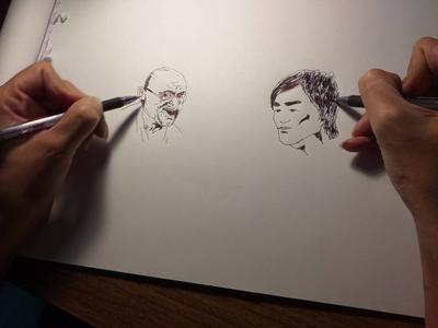 Making 2 portraits at the same time01