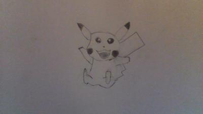 Manga Black and White Pikachu drawing